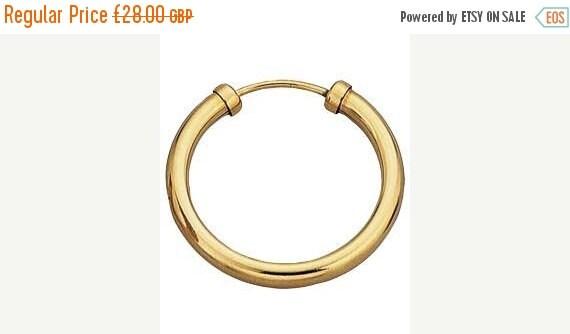 Mens Single 9ct Gold 14mm Hoop Earring, Unisex