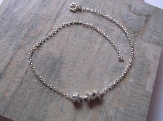 SUMMER SALE. Girls Sterling Silver Star Bracelet