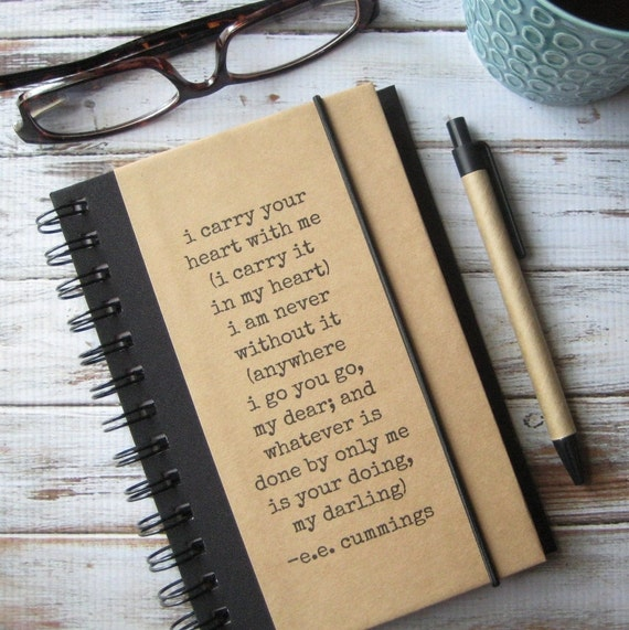 Journal, Husband Gift, Notebook, I Carry Your Heart, Engagement Gift, Gift for Fiance, ee cummings