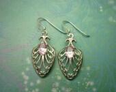 Vintage Sterling Silver Earrings - Pink Stone