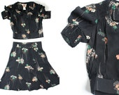 vintage. 1960s. blouse crop top and high waist skirt set. black. art deco style. Great Gatsby. floral dotted. boho. bohemian. Phase II