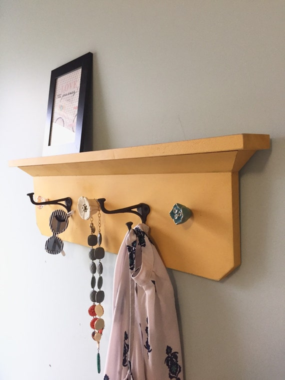 Yellow distressed Coat Rack Shelf