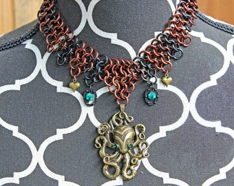 Green Eyed Sea Monster Chainmail Necklace
