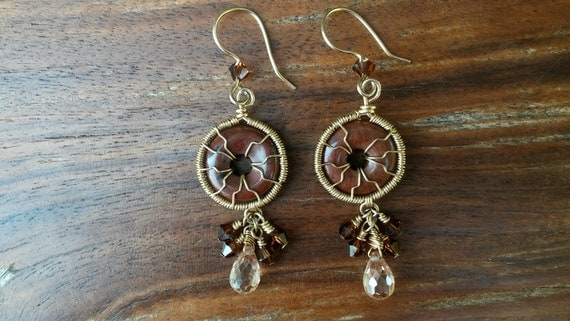 Handcrafted 14k Gold Filled Wire Wrapped Jasper and Swarovski Crystal Earrings