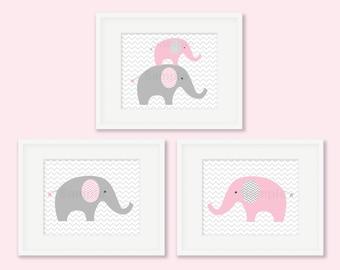Cute Elephant Nursery Wall Art / Pink Elephant Nursery Art / Chevron Pattern / Pink & Grey / PRINTABLE Instant Download