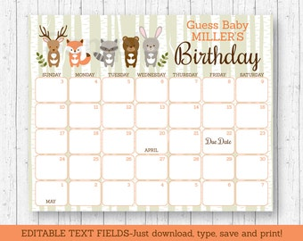 Woodland Animal Birthday Predictions Calendar / Woodland Baby Shower / Baby Shower Game / Due Date Calendar / INSTANT DOWNLOAD Editable PDF