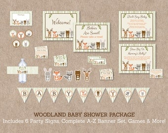 Woodland Animal Baby Shower Party Package / Woodland Baby Shower / Baby Shower Decorations / Gender Neutral / INSTANT DOWNLOAD