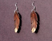 Handcarved Black Walnut, Spalted Hackberry and Mahogany Wood  Leaf / feather  Earrings  J160205
