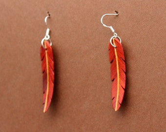 Handcarved Redheart Wood Leaf / Feather Earrings  J151201