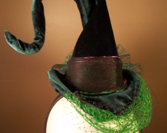 Witch Hat Fascinator Head band Costume Cosplay Millinery Slytherin Harry Potter Green Black Velvet