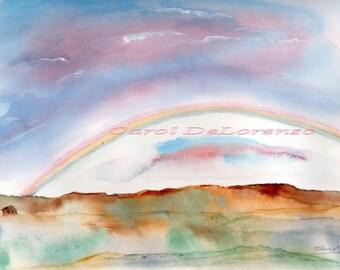 Watercolor Painting, Landscape Art, Landscape Painting, Landscape Watercolor, Desert Art, Rainbow Painting Print Titled Reno Rainbow