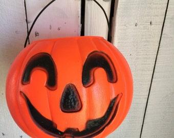 Vintage Pumpkin Blow Mold Pail - Unusual