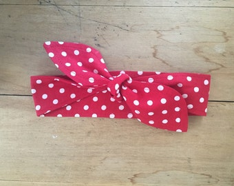 Red Polka Dot Headband- Rosie the Riveter- Red or Black- Tie Headband- Dolly Style Headband- Rockabilly- Women- Girls- Handmade- Cotton