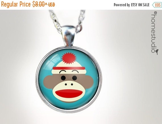 ON SALE Sock Monkey BLU : Glass Dome Necklace gift present by HomeStudio. Round art photo pendant jewelry. Available as Key Ring Keychain