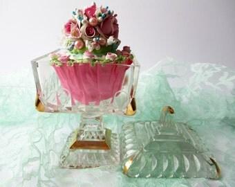 Vintage Crystal Gold Wedding Bowl Candy Dish