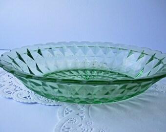 Vintage Green Depression Glass Oval Serving Bowl - Cottage Chic