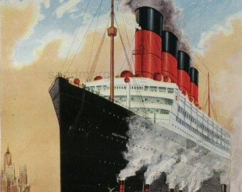 1917 Ship Beautiful Steamship RMS Aquitania Cunard Line New York Harbor