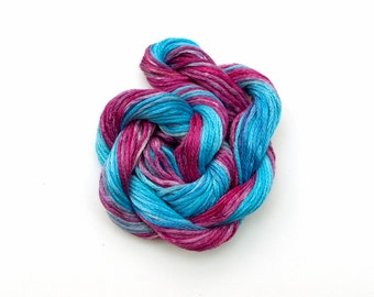 Hand dyed embroidery floss, cross stitch thread, 20 metre (22 yard) skein - turquoise, blue, dark pink, honeysuckle, space dyed floss