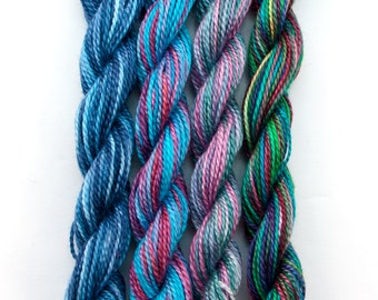 Hand dyed perle 8 cotton embroidery thread, 4 mini skeins - navy, light blue, turquoise, dark pink, green, purple, mauve, fibre art supply