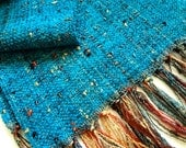 southwestern teal chenille handwoven scarf