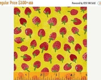 15% OFF Flower Pedals Chartreuse Strawberries by Carolyn Gavin for Windham Fabrics