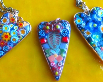 "Necklace Mosaic Heart. Mosaic ""primitive"" Heart. Pendant Mosaic Heart. Blue Red Pink Heart Pendant. Pendant Heart. Resin covered Heart. Fun"