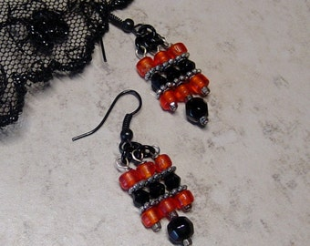 Halloween Earrings, Orange & Black Crystal Glass Bead Dangle Earrings, Black Bead Earrings, Orange Earrings, Beaded Earrings