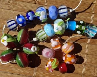 CLEARANCE--Mixed Bead Set no.2--Handmade LAMPWORK Bead Set