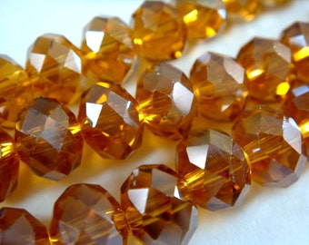 36 Amber Glass Rondelle Bead AB Faceted Abacus 8x6mm - 36 pc - G6039-AM36