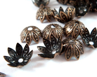60 Flower Bead Cap Antique Bronze Plated Iron NF 10x4mm - 60 pc - F4120BC-AB60