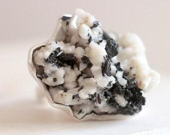 Egirina ring. Sterling silver ring with drusy Egirina with Quartz. Cluster ring, Druzy ring, specimen ring, crystal ring, statement ring.
