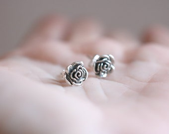 Rose earrings. Sterling silver Rose studs. Silver rose studs, silver rose earrings, flower earrings, flower studs, spring earrings, flowers.