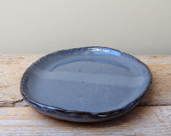 Dark Blue Oval Biscuit Plate