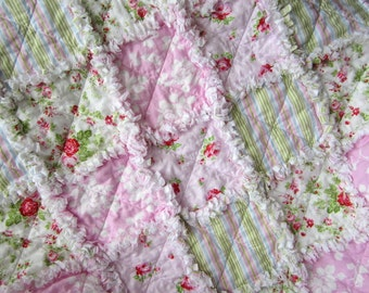 "Security Blanket, Baby Girl Quilt, 30"" x 30"", Baby Rag Quilt, Cottage Chic Decor, Flannel Baby Blanket"