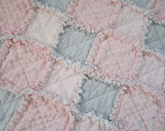 "Pink Grey Baby Quilt, 29""x34"" Rag Quilt, Minky Blanket, Gingham, Flannel, Cotton, Shabby Cottage Chic"