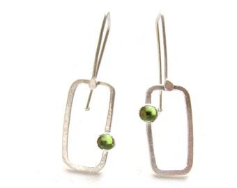 "green peridot silver ""Skylight Drop"" rectangle earrings READY TO SHIP"