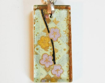 """Glass Tile Pendant: Japanese Chiyogami  Purple and Gold Blossoms on Pale Green  - Hand Drilled with Silver Bail -  18"""" Black Ribbon Necklace"""