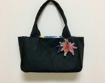 Fabric Shoulder Bag / Tote Bag --- Black