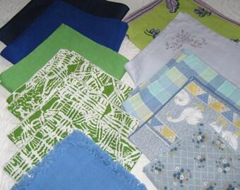 mismatched napkins . 12 mismatched napkins . blue green napkin lot . lot of 12 lot of vintage napkins