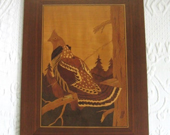 William Bader marquetry . William Bader . marquetry . pheasant marquetry . grouse . wood inlay . 1966 . bird inlay . grouse inlay