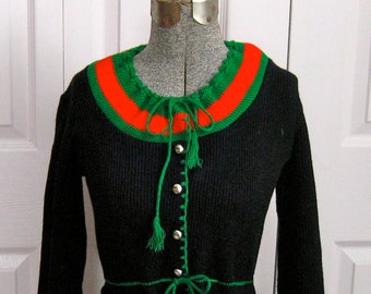 Bavarian Trachten Sweater . Bavarian Cardigan . Traditional Bavarian Cardigan . dirndl sweater .  German Folk Sweater XS/S