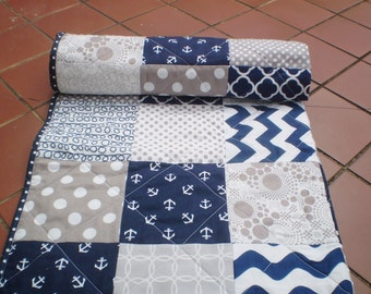 Nautical Baby quilt,navy,grey,chevron,Patchwork crib quilt ,baby girl or boy bedding,anchors,waves,quilt,modern blanket,toddler,All Nautical
