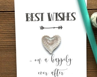 Quilled WEDDING card // BEST WISHES ... On a happily ever after // quilled silver & white heart // touch of silver