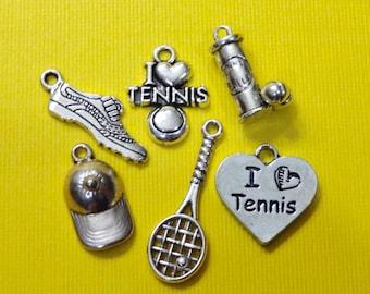 6 Tennis Collection Tennis Balls, Tennis Racket, Cap, Shoe, Love Tennis Heart Themed Charms