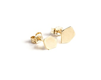 18K Gold Stud Earrings, 18K Gold Post Earrings, Solid Gold Stud Earring, Geometric Gold Stud Earrings, Gold Nugget Earrings