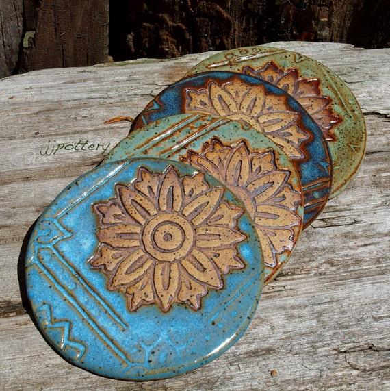 Coasters handmade drink coaster pottery coasters stoneware for Handmade drink coasters
