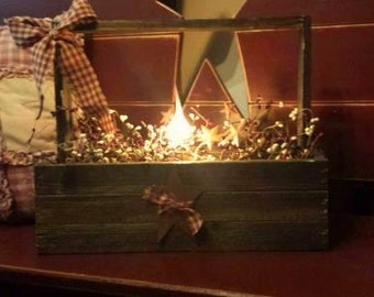 Primitive  Wood Lighted Tote