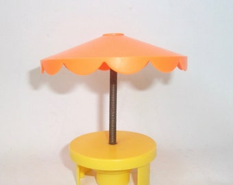 Vintage Fisher Price Patio Table Umbrella Little People Toy  #2526 Swimming Pool