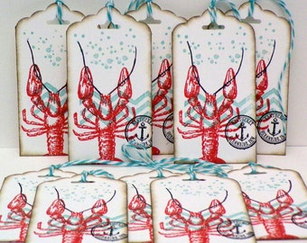 Nantucket Lobster Tags...Antique aged tags...Bridesmaid gift tags...Wedding gift tags...Birthday tags...Pay It Forward...hand stamped!