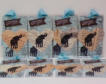 """Thankful for you Elephant tags...Set 8 tags...Gift tags 2 1/4"""" x 4""""...reverse side blank...kraft card stock...some Stampin'Up! stamps"""